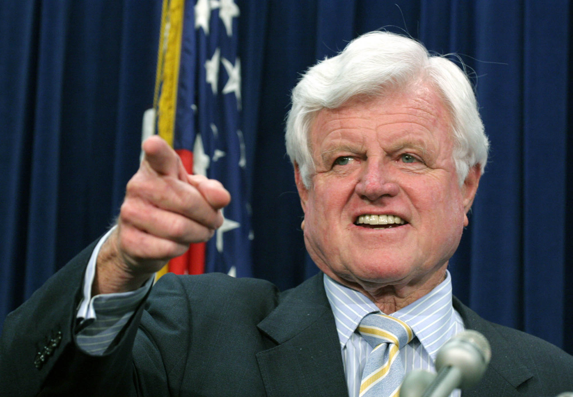 On Wednesday, July 12, 2006 in Washington Sen. Edward Kennedy, D-Mass., is seen during a press conference supporting an increase in the minimum wage. (Lauren Victoria Burke)